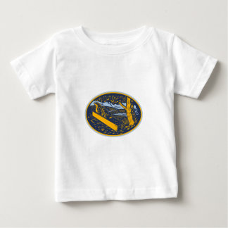 Wood Plane Forest Oval Woodcut Baby T-Shirt