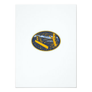 Wood Plane Forest Oval Woodcut Card