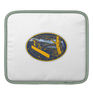 Wood Plane Forest Oval Woodcut iPad Sleeves