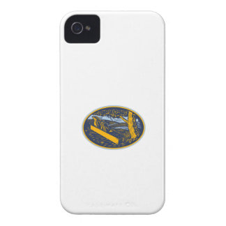 Wood Plane Forest Oval Woodcut iPhone 4 Case