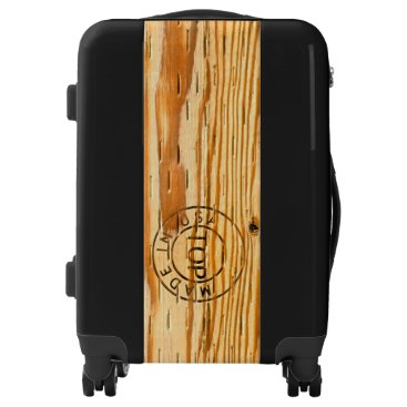 """USA Themed Wood Plank Stamped with """"Made in USA"""" Luggage"""