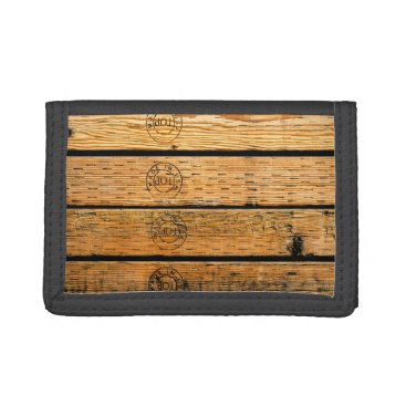 """USA Themed Wood Plank Stamped with """"Made in USA"""" Tri-fold Wallet"""