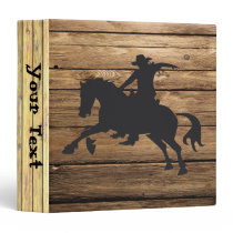 Wood Planks and Bucking Horse 3 Ring Binder
