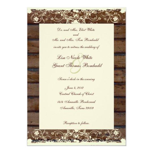 Cheap Shabby Chic Wedding Invitations: Wood Planks Cream Shabby Lace Wedding Invitation