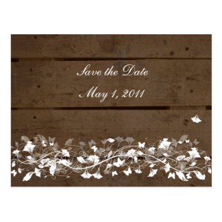 Wood Planks Floral Save the Date Postcard