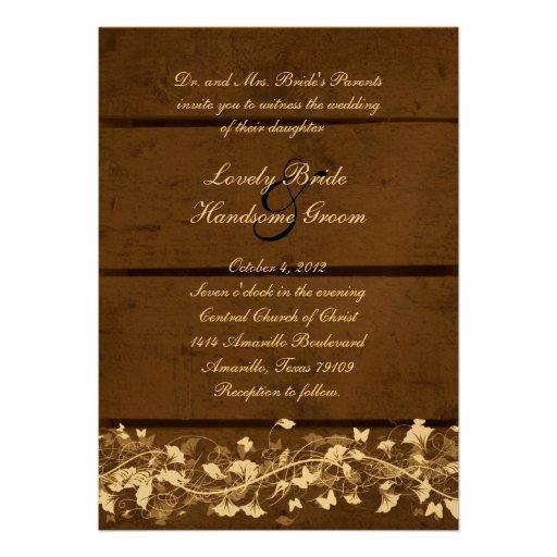 Wood Planks Floral Wedding Invitation