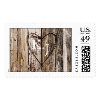 Wood Planks Heart Etching Rustic Wedding Postage