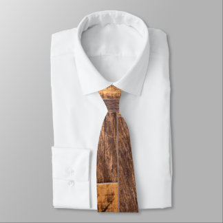 Wood planks neck tie