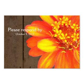 Wood Planks, Orange Zinnia RSVP with envelope Card