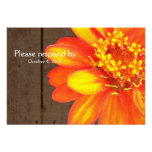 Wood Planks, Orange Zinnia RSVP with envelope Personalized Announcement