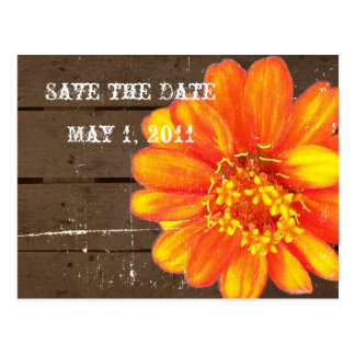 Wood Planks Orange Zinnia Save the Date Post Cards