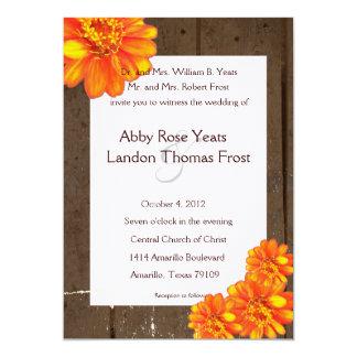 Wood Planks Orange Zinnia Wedding Invitation