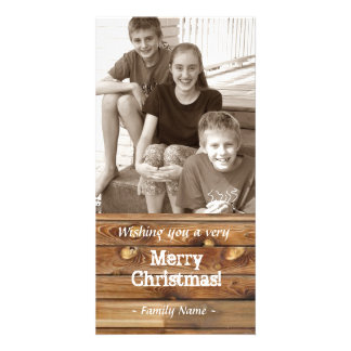 Wood Planks Photo Christmas Card
