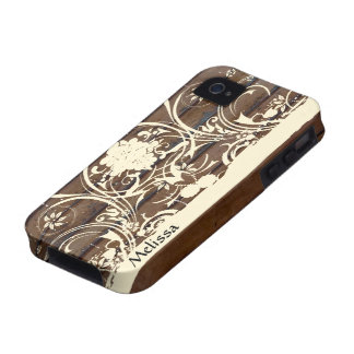Wood Planks, Shabby Cream Lace Country Case-Mate iPhone 4 Case