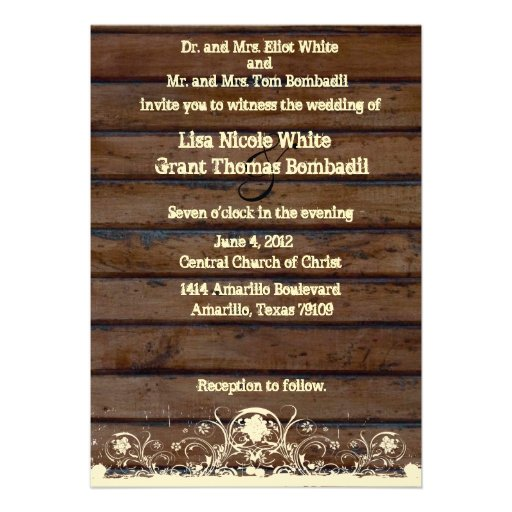Wood Planks Shabby Lace Country Wedding Invitation
