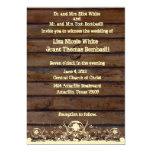 Wood Planks Shabby Lace Country Wedding Invitation