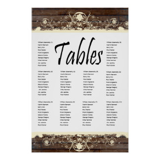 Wood Planks Shabby Lace Seating Chart Posters