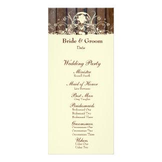 Wood Planks Shabby Lace Wedding Program Customized Rack Card