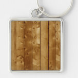 Wood planks Silver-Colored square keychain