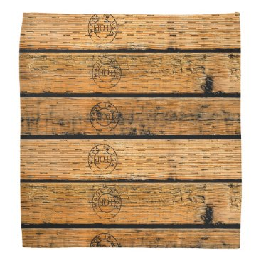 """USA Themed Wood Planks Stamped with """"Made in USA"""" Bandana"""