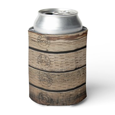 """USA Themed Wood Planks Stamped with """"Made in USA"""" Can Cooler"""