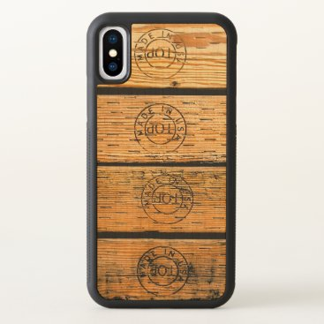 """USA Themed Wood Planks Stamped with """"Made in USA"""" iPhone X Case"""