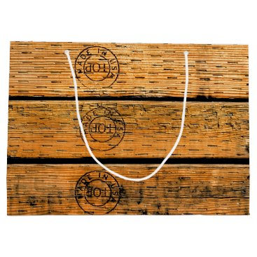 """USA Themed Wood Planks Stamped with """"Made in USA"""" Large Gift Bag"""