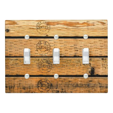 """USA Themed Wood Planks Stamped with """"Made in USA"""" Light Switch Cover"""
