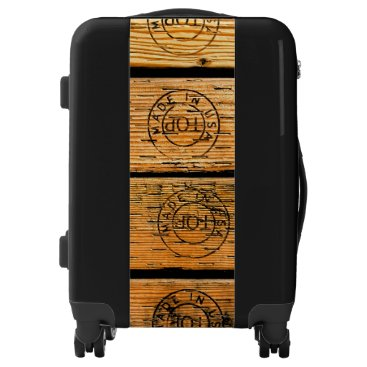"""USA Themed Wood Planks Stamped with """"Made in USA"""" Luggage"""