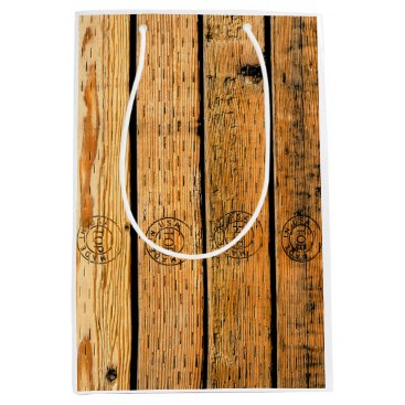 """USA Themed Wood Planks Stamped with """"Made in USA"""" Medium Gift Bag"""