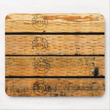 """USA Themed Wood Planks Stamped with """"Made in USA"""" Mouse Pad"""