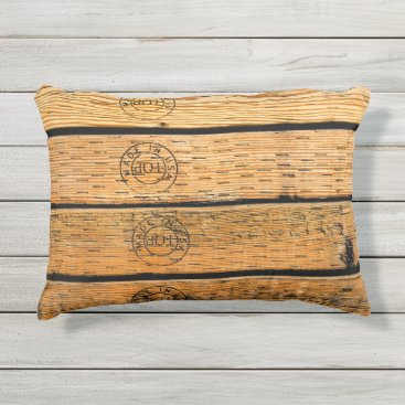 """USA Themed Wood Planks Stamped with """"Made in USA"""" Outdoor Pillow"""