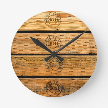 """USA Themed Wood Planks Stamped with """"Made in USA"""" Round Clock"""