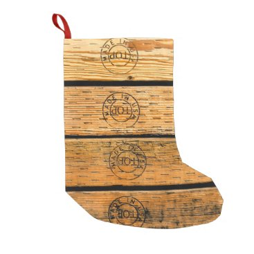 """USA Themed Wood Planks Stamped with """"Made in USA"""" Small Christmas Stocking"""