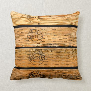 """USA Themed Wood Planks Stamped with """"Made in USA"""" Throw Pillow"""