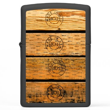 """USA Themed Wood Planks Stamped with """"Made in USA"""" Zippo Lighter"""