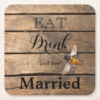 Wood planks with Bee Square Paper Coaster
