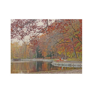 WOOD POSTER FEATURING LAKE WITH FALL REFLECTIONS