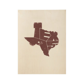 Wood Poster with Burgundy Texas State Map
