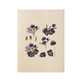 Wood poster with Folk flowers