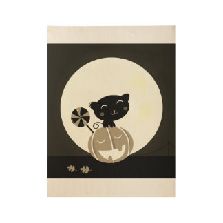 Wood poster with little black Cat