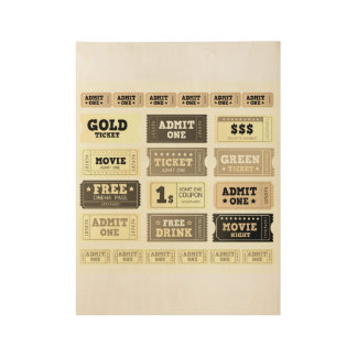 Wood poster : with old - look Tickets