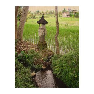 wood print | Rice field Temple Ubud Indonesia