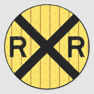 Wood Railroad Crossing Sign Classic Round Sticker
