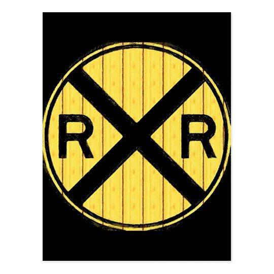Wood Railroad Crossing Sign Postcard