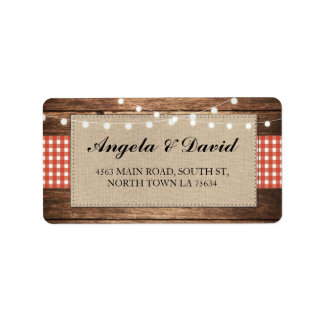 Wood Red Check Burlap Rustic Wedding Address Label
