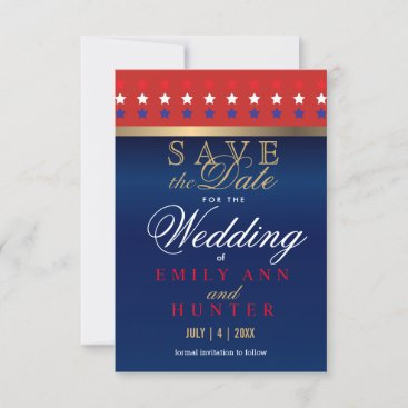 Wood, Red, White & Blue Patriotic Save The Date
