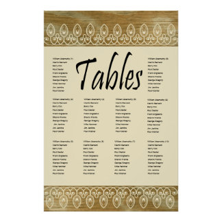 Wood Rings, Gold Tint Seating Chart Posters