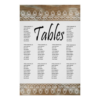 Wood Rings, White lace Seating Chart Print