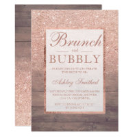Wood rose gold glitter brunch bubbly bridal shower invitation